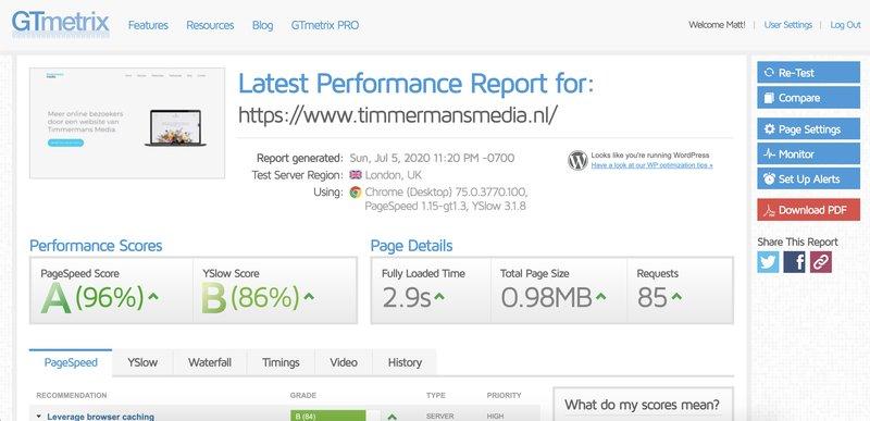 GTmetrix WordPress Site